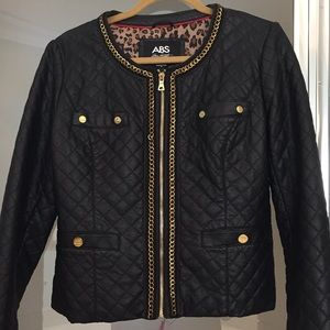 ABS Allen Schwartz Faux Leather Black Jacket, EUC